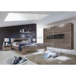 Chambre adulte design coloris chêne chataigne/verre noir Kristel II