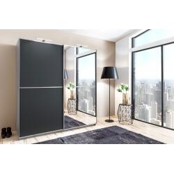 Armoire design portes coulissantes coloris anthracite Anouk