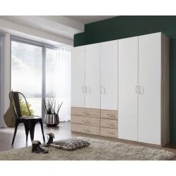 Armoire contemporaine 5 portes/6 tiroirs coloris blanc/chêne clair Simbad