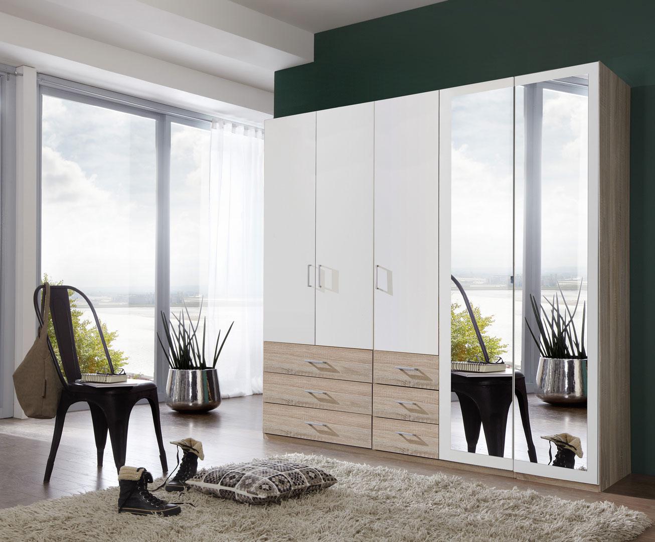 Armoire contemporaine 5 portes/6 tiroirs coloris blanc/chêne clair Simbad II
