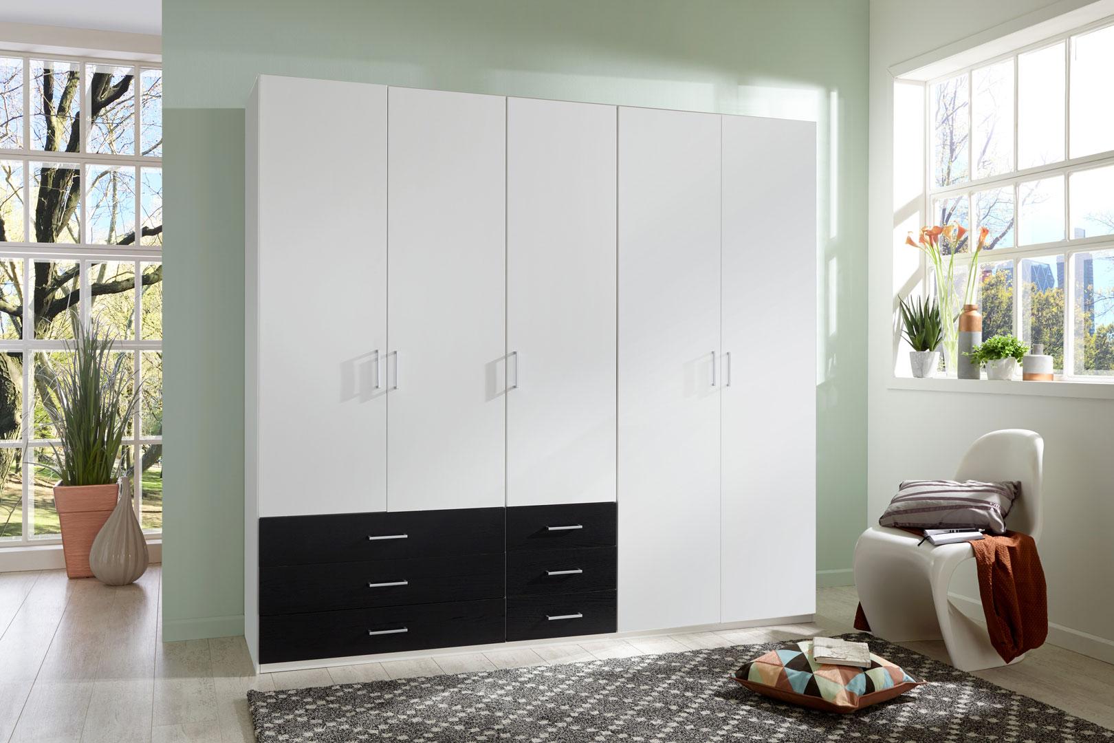 Armoire contemporaine 5 portes/6 tiroirs coloris blanc/noir Simbad