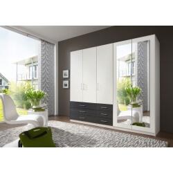 Armoire contemporaine 5 portes/6 tiroirs coloris blanc/noir Simbad II