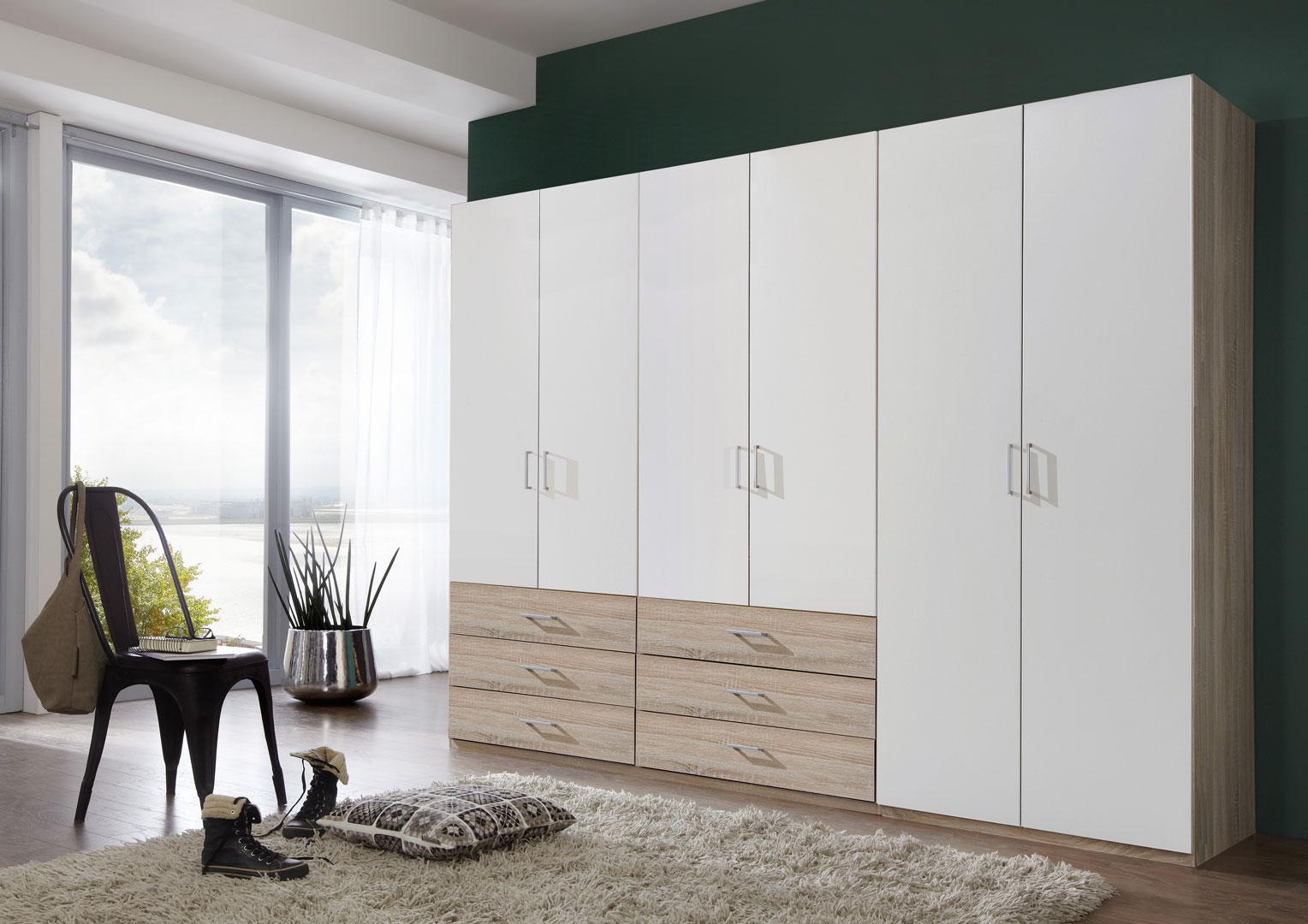 Armoire contemporaine 6 portes/6 tiroirs coloris blanc/chêne clair Simbad