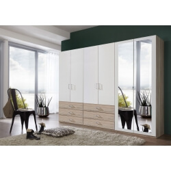 Armoire contemporaine 6 portes/6 tiroirs coloris blanc/chêne clair Simbad II