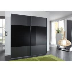 Armoire design portes coulissantes coloris anthracite/verre noir Blake