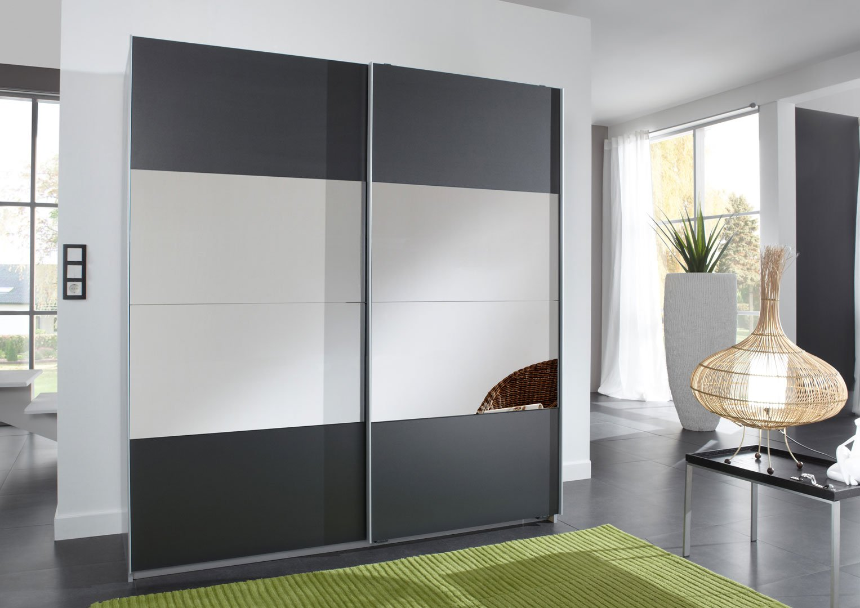 Armoire design portes coulissantes coloris anthracite/miroir Blake