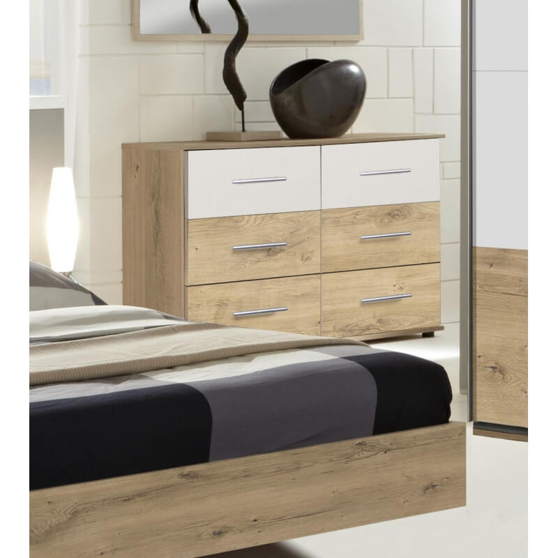 commode adulte contemporaine 6 tiroirs coloris ch ne clair blanc marvine matelpro. Black Bedroom Furniture Sets. Home Design Ideas