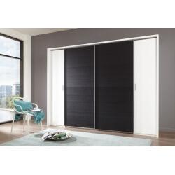 Armoire adulte design 4 portes coloris blanc/chêne noir Filippa