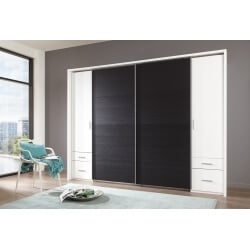 Beau Armoire Adulte Design 4 Portes/4 Tiroirs Coloris Blanc/chêne Noir Filippa