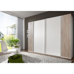 Armoire adulte design 4 portes coloris blanc/chêne clair Filippa