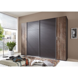 Armoire adulte design 4 portes coloris chêne chataigne/lave Filippa