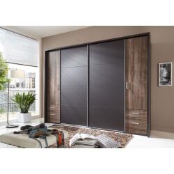 Armoire adulte design 4 portes/4 tiroirs coloris chêne chataigne/lave Filippa