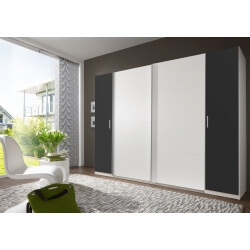 Armoire adulte design 4 portes coloris blanc/anthracite Filippa