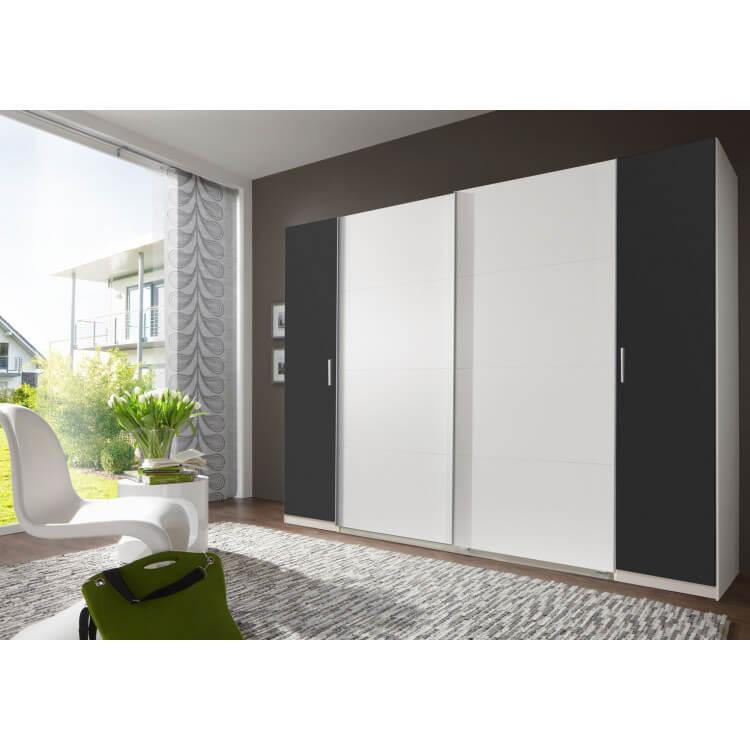 Armoire adulte design 4 portes coloris blanc/anthracite Filippa