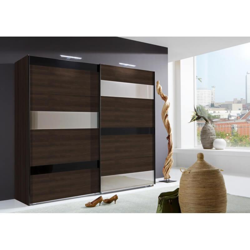 armoire adulte design portes coulissantes coloris noyer verre noir et blanc vassily. Black Bedroom Furniture Sets. Home Design Ideas