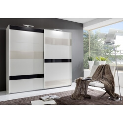 Armoire adulte design portes coulissantes coloris blanc/verre gris et blanc Vassily