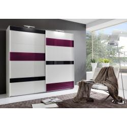 Armoire adulte design portes coulissantes coloris blanc/verre gris et prune Vassily