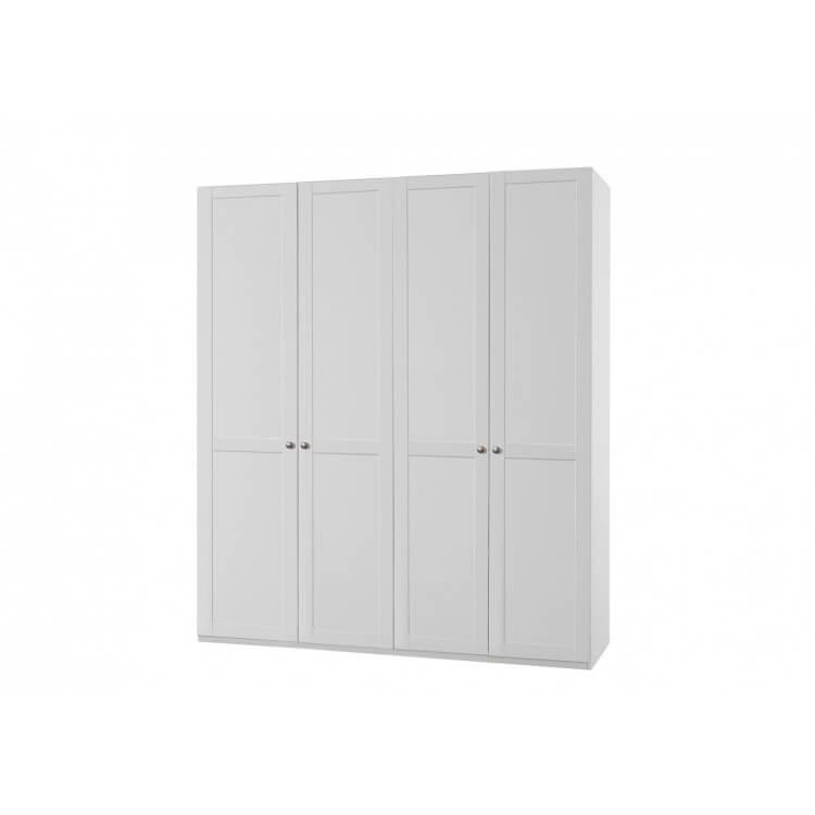 Armoire contemporaine 4 portes coloris blanc alpin Amerand