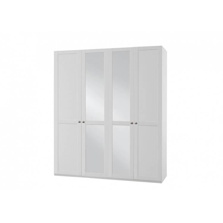 Armoire Contemporaine 4 Portes Avec Miroir Coloris Blanc Alpin Amerand Matelpro