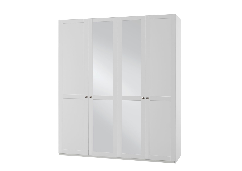 Armoire contemporaine 4 portes avec miroir coloris blanc alpin Amerand