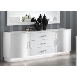 Buffet/bahut design 2 portes/3 tiroirs laqué blanc Horus