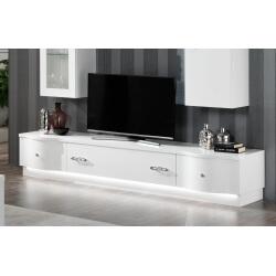 Meuble TV design 240 cm laqué blanc Horus