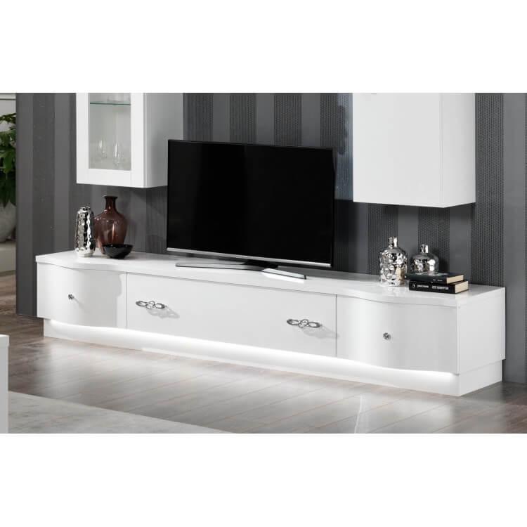 Meuble Tv Design 240 Cm Laqué Blanc Horus Matelpro