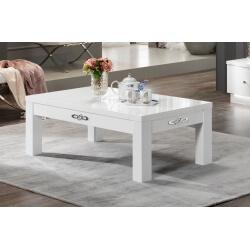 Table basse design rectangulaire laquée blanche Horus