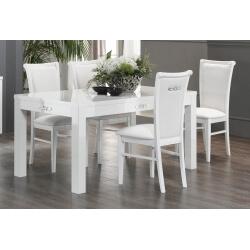 Table de salle à manger design laquée blanche Horus