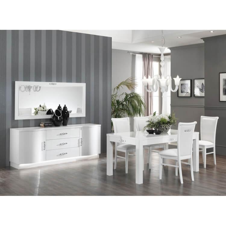 Table de salle manger design laqu e blanche horus matelpro for Salle a manger design blanche