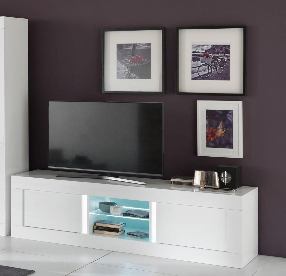meilleures baskets 5eafc d0a99 Meuble TV design 180 cm laqué blanc avec éclairage Adelin