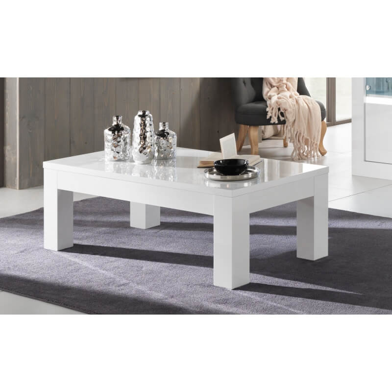 table basse design rectangulaire laqu e blanche adelin. Black Bedroom Furniture Sets. Home Design Ideas