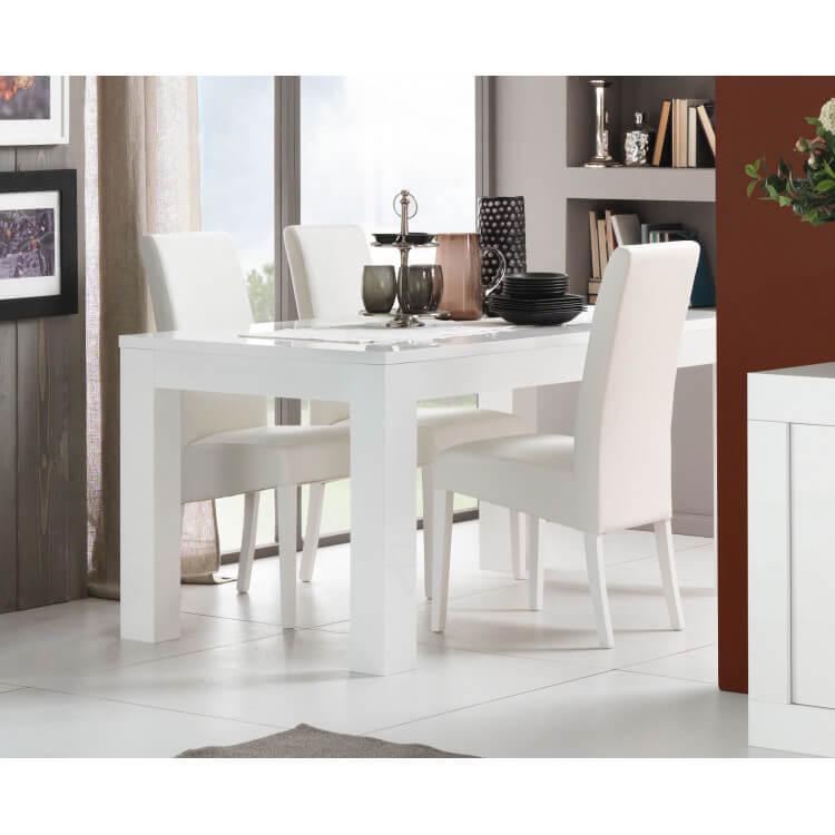 Table de salle à manger design laquée blanche Adelin