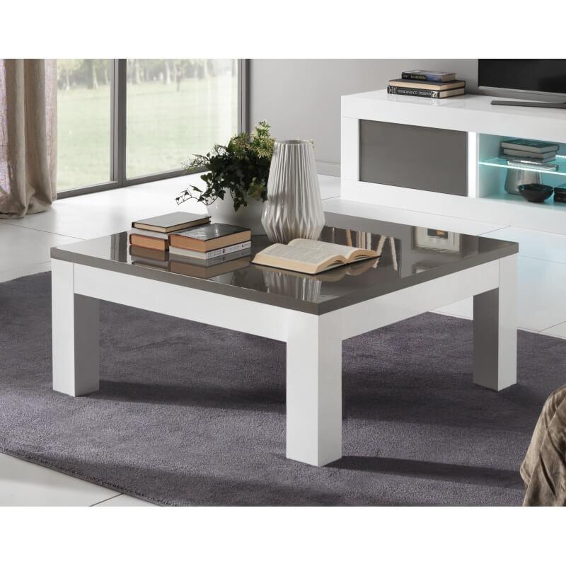 Table basse design carr e laqu e blanche et grise romain Table grise et blanche