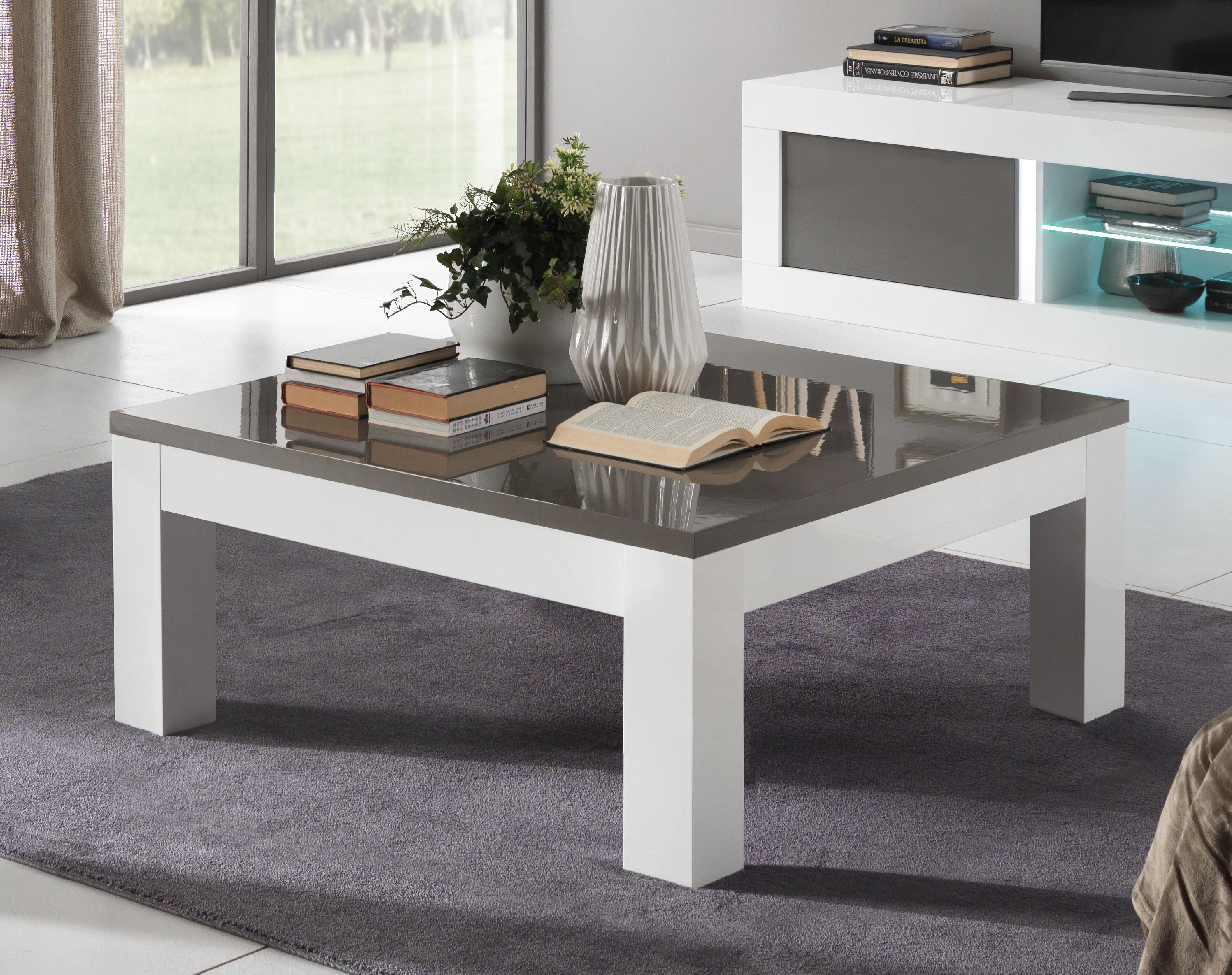 Table Basse Design Carree Laquee Blanche Et Grise Romain Matelpro