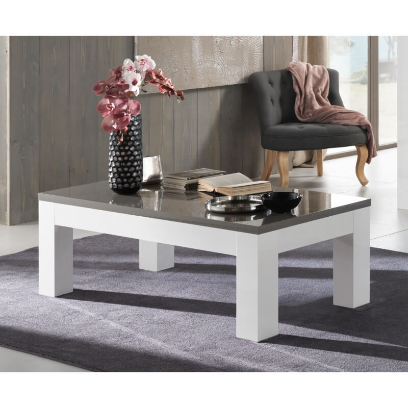 table basse design rectangulaire laqu e blanche et grise. Black Bedroom Furniture Sets. Home Design Ideas