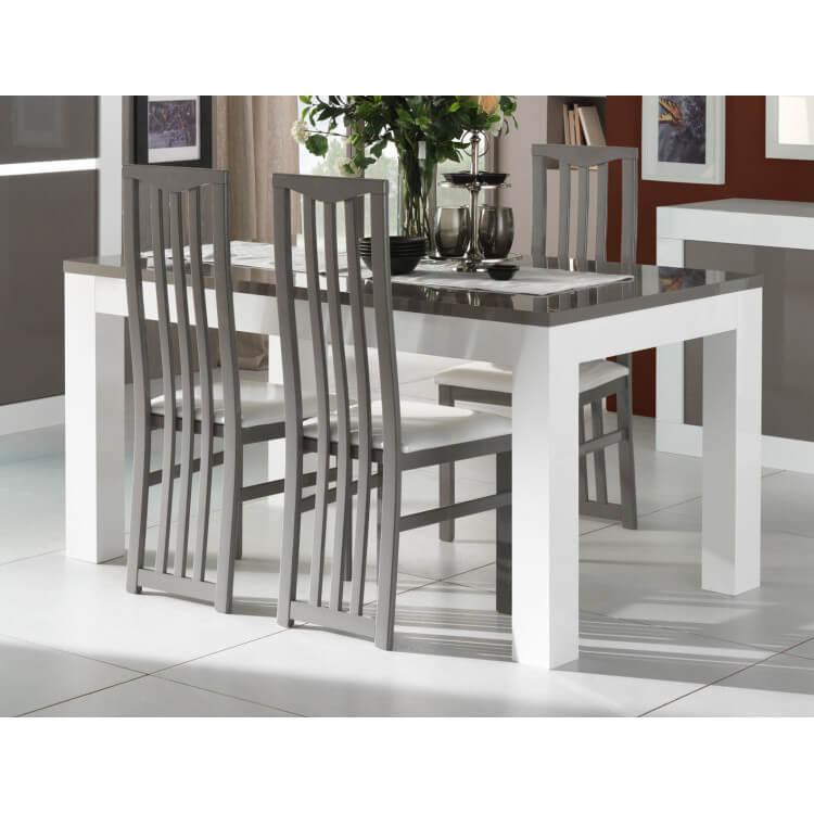 Table de salle à manger design laquée blanche et grise Romain