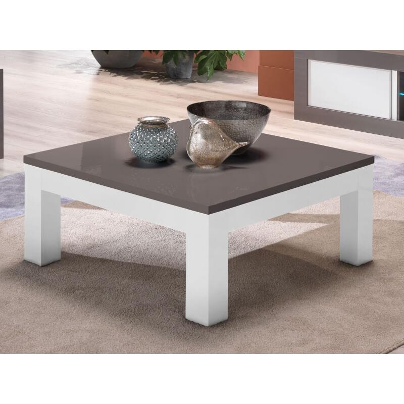 Table basse design carr e laqu e grise et blanche hugolin Table grise et blanche