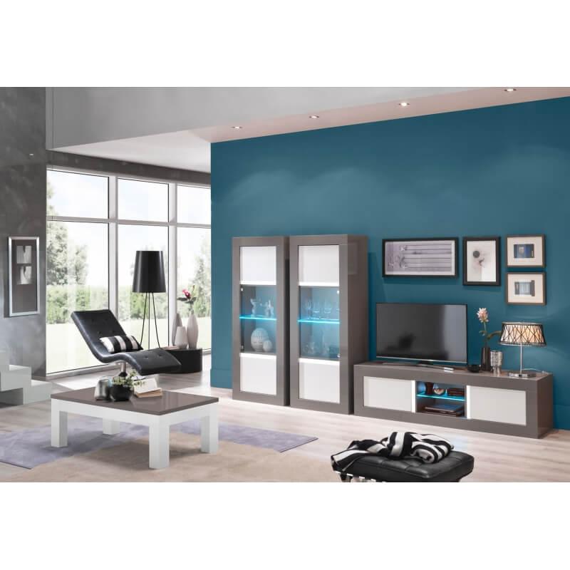 table basse design rectangulaire laqu e grise et blanche. Black Bedroom Furniture Sets. Home Design Ideas