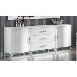 Buffet/bahut design 2 portes/3 tiroirs laqué blanc Alceste
