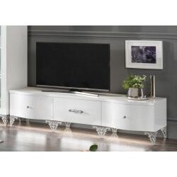 Meuble TV design 180 cm laqué blanc Alceste