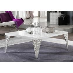 Table basse design carrée laquée blanche Alceste