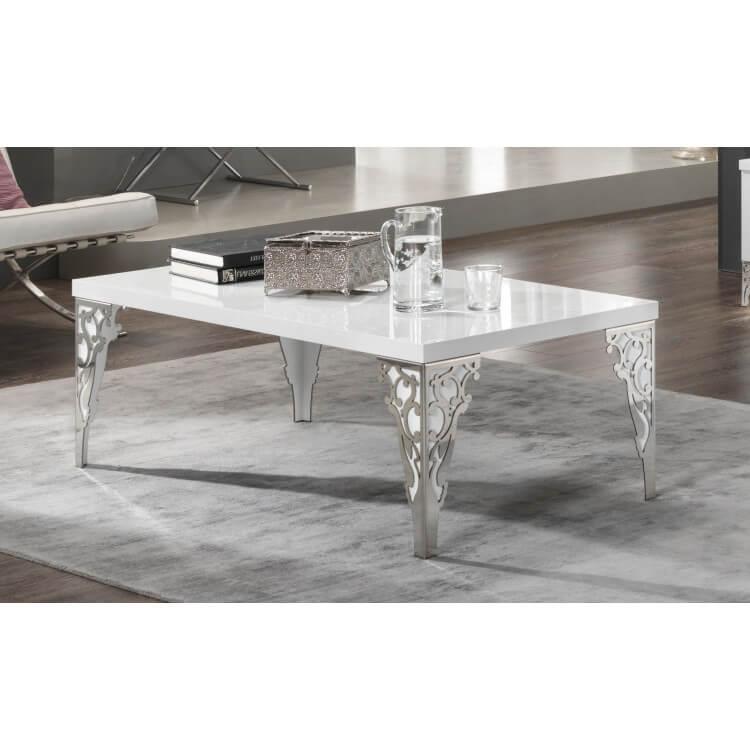 Table Basse Design Rectangulaire Laquée Blanche Alceste