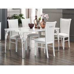 Table de salle à manger design laquée blanche Alceste