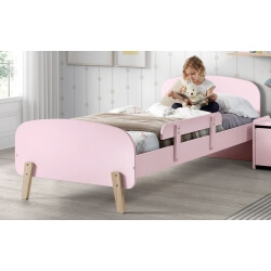 Lit enfant contemporain en pin massif laqué rose Junior
