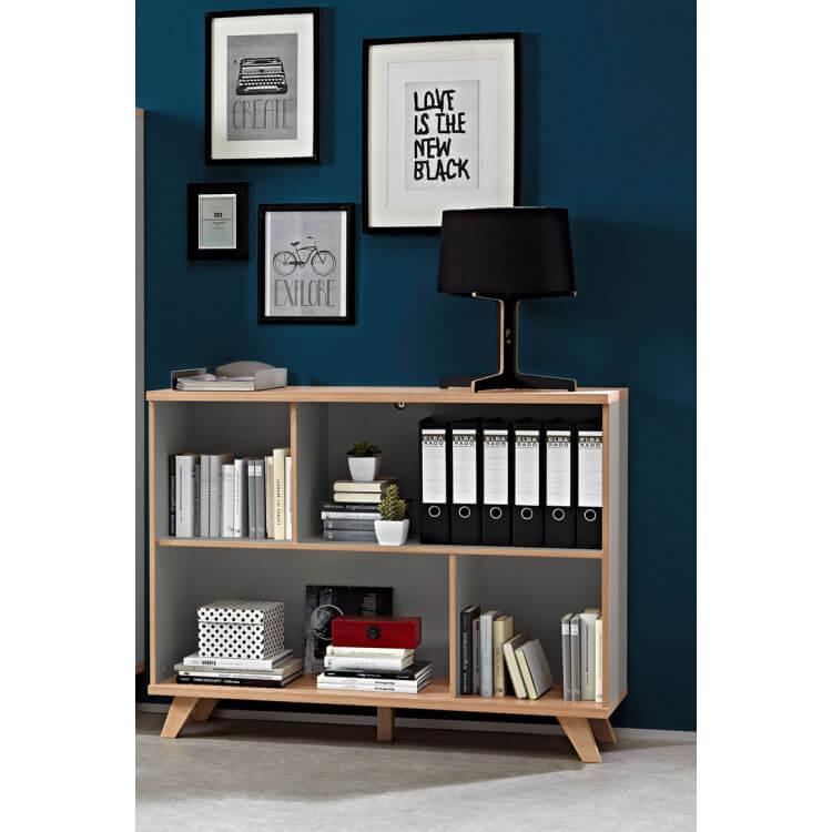 Bibliothèque contemporaine coloris chêne/gris mat Sarah
