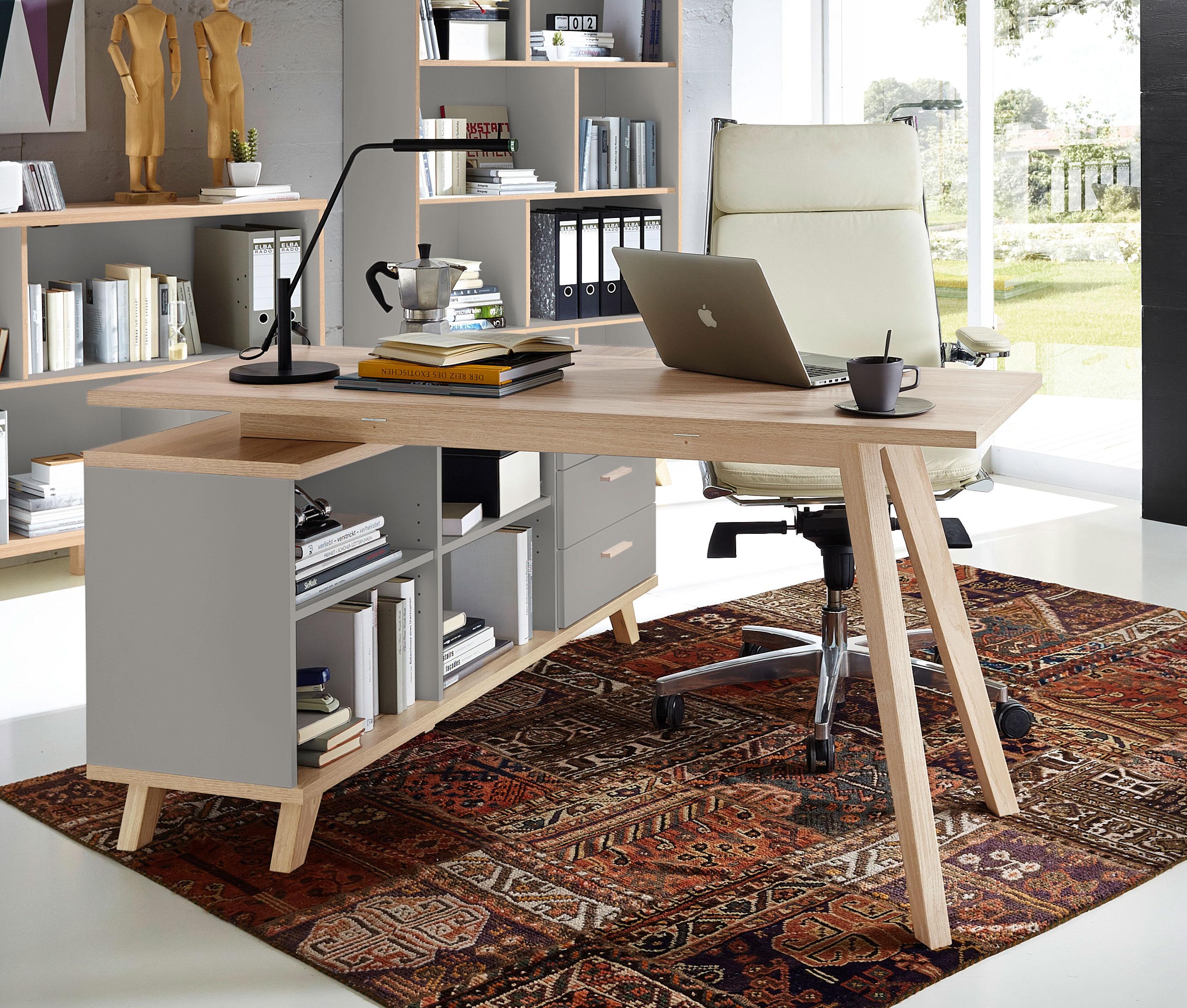 bureau d 39 angle contemporain coloris ch ne gris mat sarah matelpro. Black Bedroom Furniture Sets. Home Design Ideas
