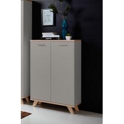 Armoire basse de bureau contemporaine coloris chêne/gris mat Sarah