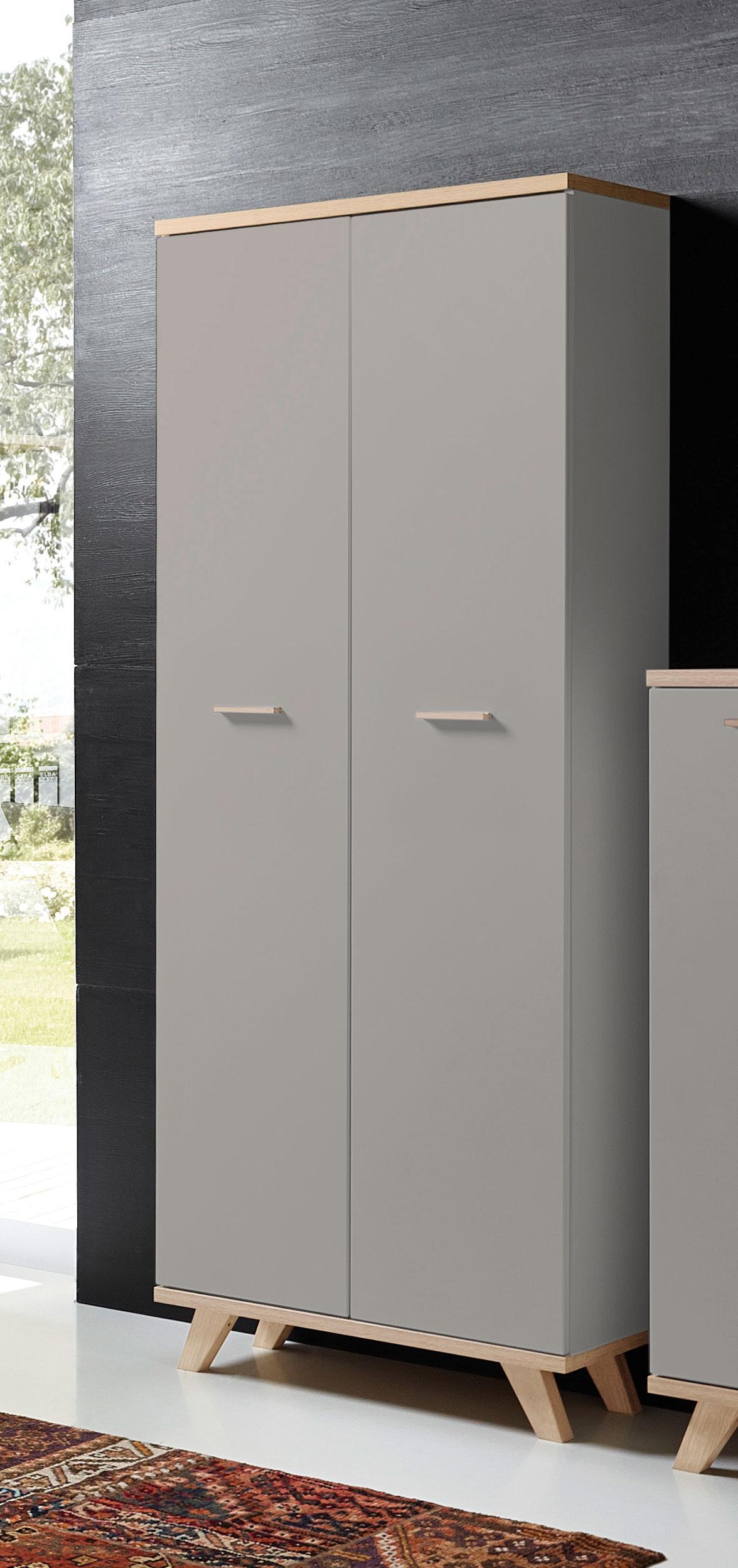 Armoire haute de bureau contemporaine coloris chêne/gris mat Sarah