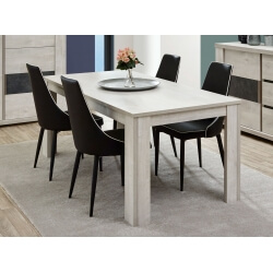 Table de salle à manger contemporaine coloris chêne clair Lessie